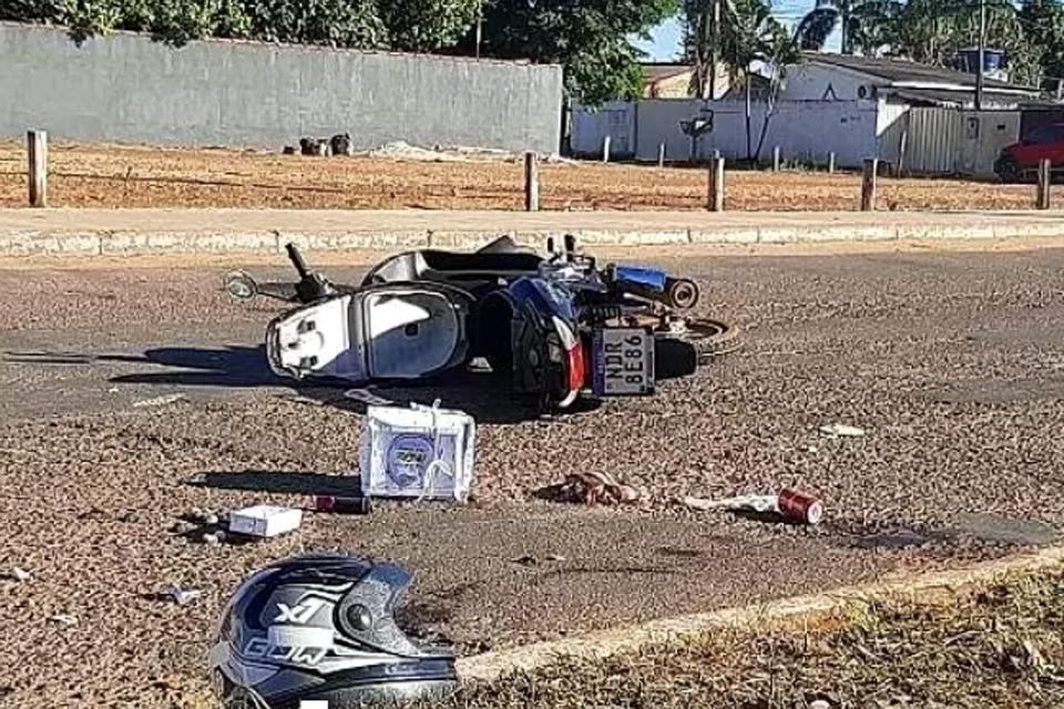 Mãe e filha são levadas ao hospital após motoqueiro provocar acidente e fugir