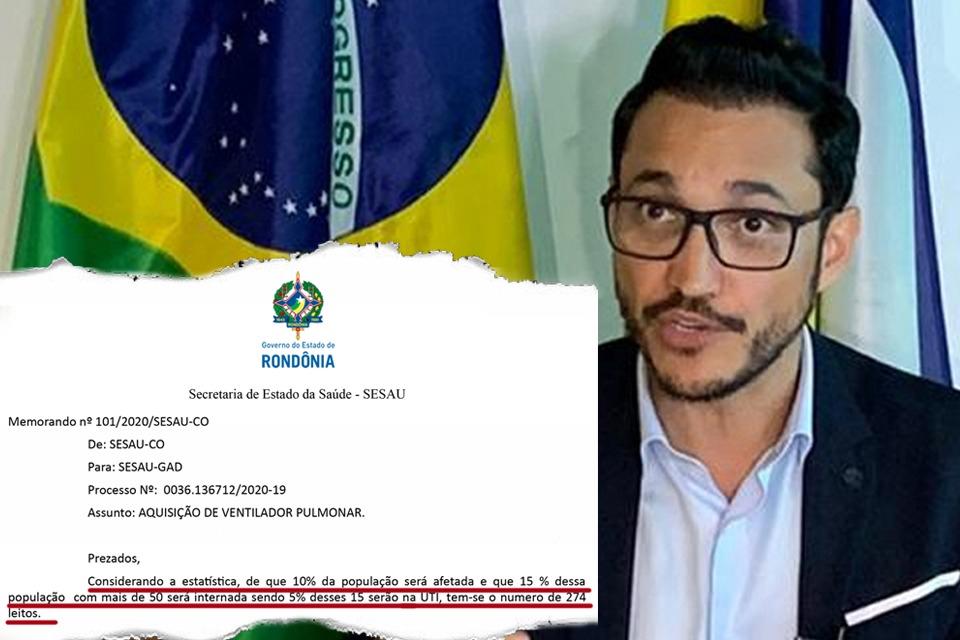 Exclusivo — Coronavírus: Documento da Secretaria de Saúde de Rondônia trabalha com projeção e hipótese de quase cinco mil internados