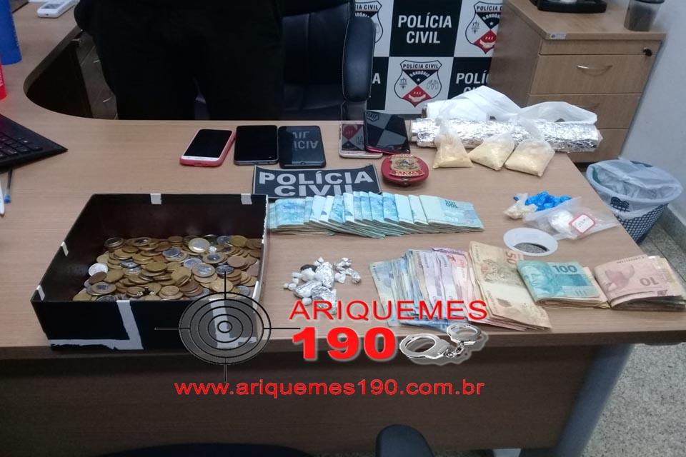 Polícia Civil de Ariquemes prende traficantes e apreende drogas e dinheiro