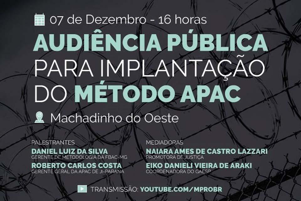 Ministério Público promoverá audiência pública virtual para implantação da APAC