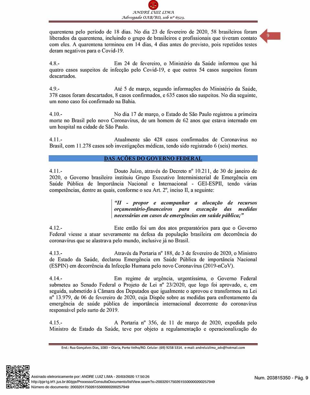 Coronavírus: Cidadão de Rondônia entra com ação popular contra a China exigindo mais de R$ 5 bilhões do país oriental
