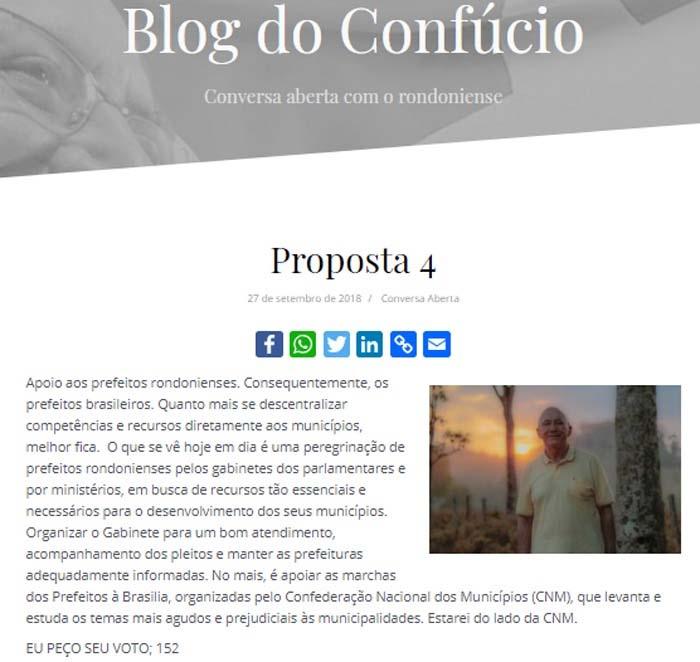 Proposta 4 de Confúcio (Foto: Rondoniadinamica)