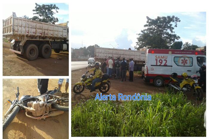 BR-364: Motociclista colide contra caminhão caçamba