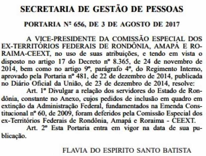 Portaria (Foto: Diário Oficial da União)
