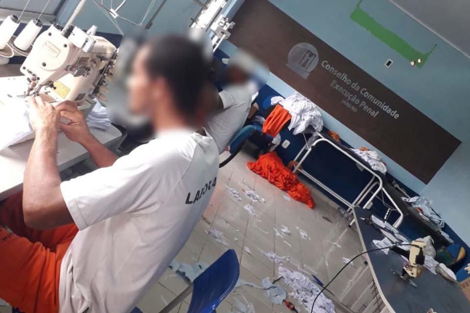 Detentos fabricam mascaras em ação fruto de parceria entre ACIJ e Conselho da Comunidade