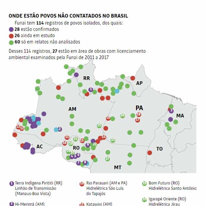 Levantamento aponta 27 povos isolados ameaçados por obras; há pelo menos 5 em Rondônia